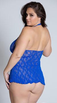 Plus Size Lace Halter Top Mini Dress - Blue