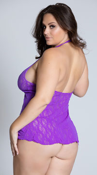 Plus Size Lace Halter Top Mini Dress - Purple