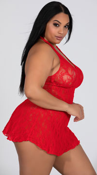 Plus Size Lace Halter Top Mini Dress - Red