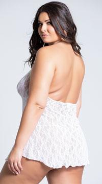 Plus Size Lace Halter Top Mini Dress - White