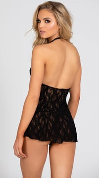Lace Halter Top Mini Dress - Black
