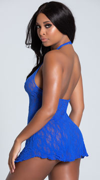 Lace Halter Top Mini Dress - Blue