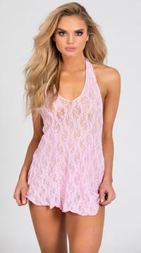 Lace Halter Top Mini Dress - Pink