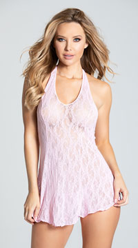 Lace Halter Top Mini Dress - Pink