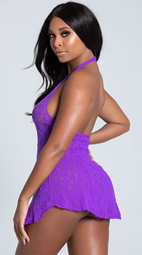 Lace Halter Top Mini Dress - Purple