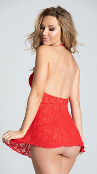 Lace Halter Top Mini Dress - Red