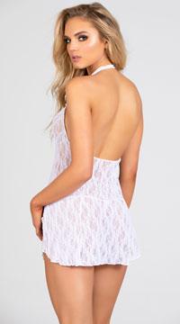Lace Halter Top Mini Dress - White