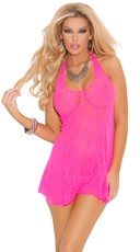 Lace Halter Top Mini Dress - Hot Pink