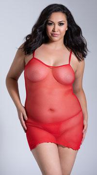 Plus Size Slip Mini Dress - Red