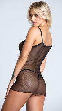 Shocking Sheer Mini Dress - Black