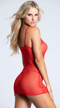 Shocking Sheer Mini Dress - Red