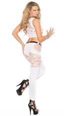 Geometric Cami Top and Legging Set - White