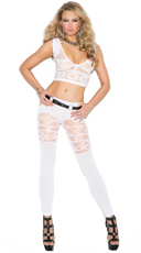 Geometric Cami Top and Legging Set - White
