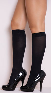 Opaque Knee High Stockings - Black