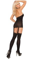Plus Size High Neck Mesh Garter Chemise - Black