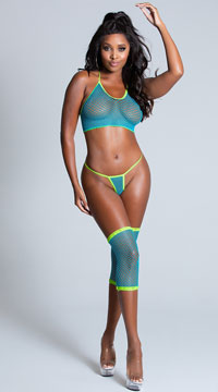 House Party Fishnet Cami Set - Turquoise