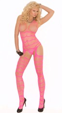 Neon Striped Open Crotch Bodystocking - Neon Pink
