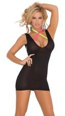 Opaque Deep V Mini Dress - Black
