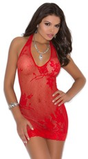 Red Lace Halter Style Mini Dress - Red