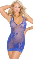 Red Lace Halter Style Mini Dress - Royal Blue