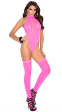 Opaque and Sheer Teddy with Matching Stockings - Neon Pink
