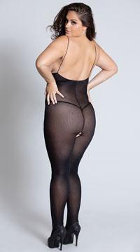 Plus Size Born This Way Bodystocking - Black