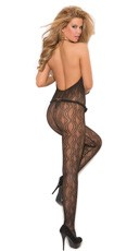 Swirl Lace Bodystocking - Black