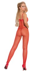 Fishnet Open Crotch Bodystocking - Red