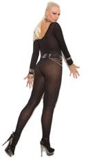Plus Size Opaque Long Sleeve Bodystocking - Black