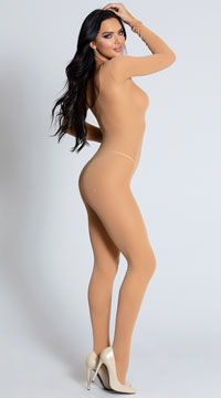 Foxy Babe Long Sleeve Bodystocking - Nude