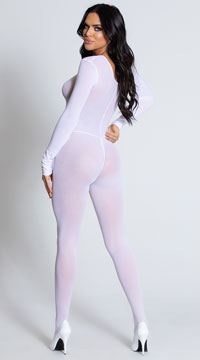 Foxy Babe Long Sleeve Bodystocking - White