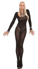 Foxy Babe Long Sleeve Bodystocking - Black