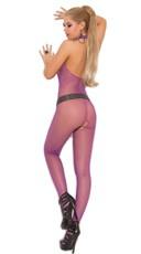Fishnet Halter Bodystocking - Purple