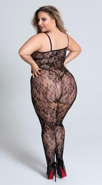 Plus Size Lace Rose Bodystocking - Black