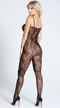 Plus Size Lace Rose Bodystocking - Black
