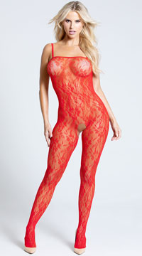 Plus Size Lace Rose Bodystocking - Red