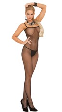 Criss Cross Back Bodystocking - Black