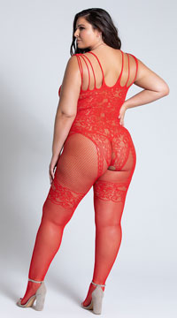 Plus Size Open Crotch Fishnet and Lace Bodystocking - Red