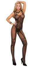 Plus Size Open Crotch Fishnet and Lace Bodystocking - Black