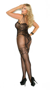 Plus Size Open Crotch Fishnet and Lace Bodystocking - as shown