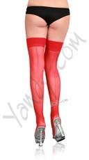 Sheer Back Seam Stockings - Red