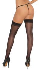 Sheer Back Seam Stockings - Black