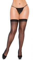 Plus Size Sheer Back Seam Stockings - Black