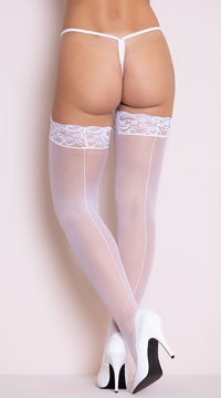 Lace Top Backseam Thigh High - White