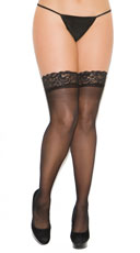 Plus Size Lace Top Backseam Thigh High - Black