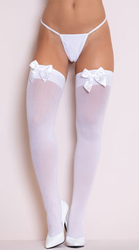 Thigh Highs with Satin Bow - White