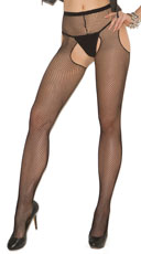 Fishnet Suspender Pantyhose - Black