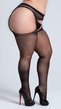 Plus Size Sheer Suspender Pantyhose - Black