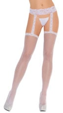 Thigh High with Lace Garterbelt - White