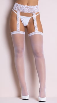 Sheer Thigh Highs with Lace Garterbelt - White